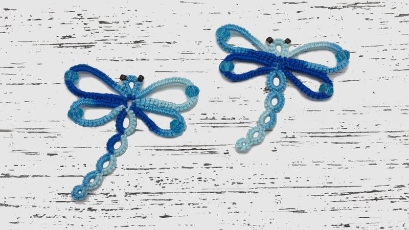 Beginner needle tatting. Dragonfly with crystal beads / Фриволите иглой для начинающих. Стрекоза