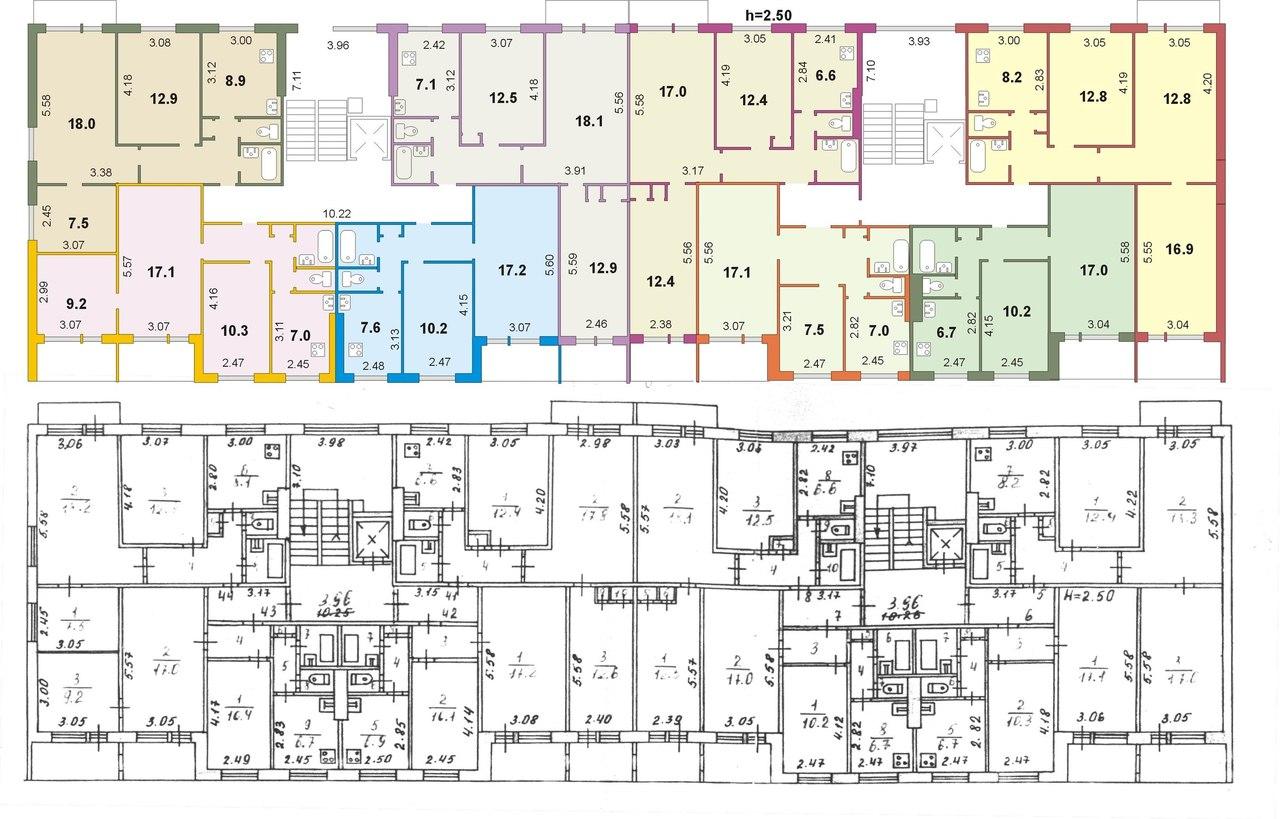 Схема квартир дома панельного