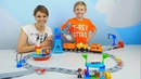 ПОЕЗД Локомотив и Большая ЖЕЛЕЗНАЯ ДОРОГА LEGO DUPLO с Подъёмным КРАНОМ Видео для Детей For Children