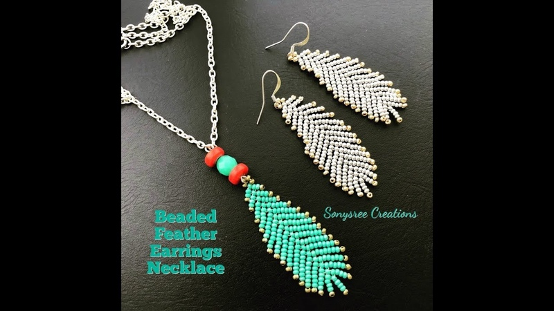 How to make Beaded Feather Earrings or Pendant 💞...Boho Style Earrings