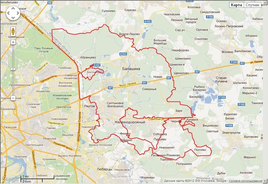 Часть территории, которую планируется присоединить к Москве