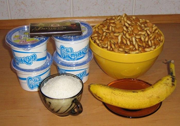 Торт печенье рыбки со сметаной и бананом