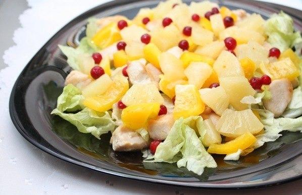 Салаты курица с ананасом фото