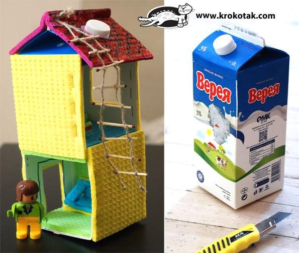 Домики из молочных пакетов