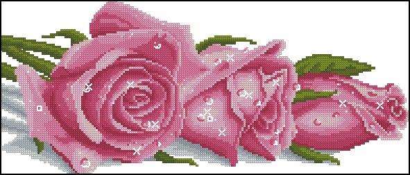 Вышивка крестом роза в росе
