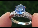 HGT Certified UNHEATED Natural VVS Blue Sapphire Diamond PLATINUM Ring - C707