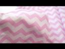 Польский хлопок Сатиновое плетение Розовые зиг-заги