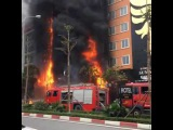 Large fires in Hanoi Vietnam (11/01/2016). The entire building burnt down to ashes