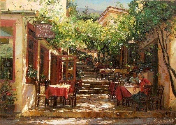 Тепло солнечного дня и очарование маленьких двориков и улочек в работах художника Shymski Andras