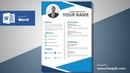 Awesome Blue Resume Design Tutorial in Microsoft Word (Silent Version) | CV Designing