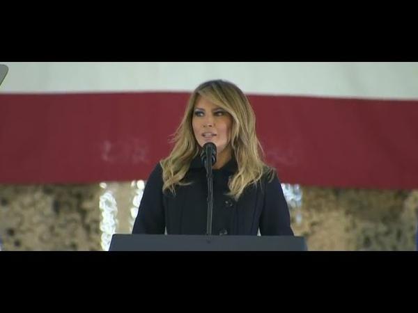 Melania Trump visits service Base Langley Eustis