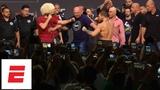 Conor McGregor vs Khabib Nurmagomedov weigh-in Conor kicks out, Drake rocks Irish flag UFC 229