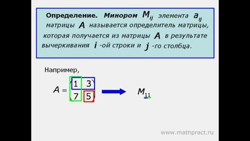 1 Миноры алгебраические дополнения определитель по теореме Лапласа