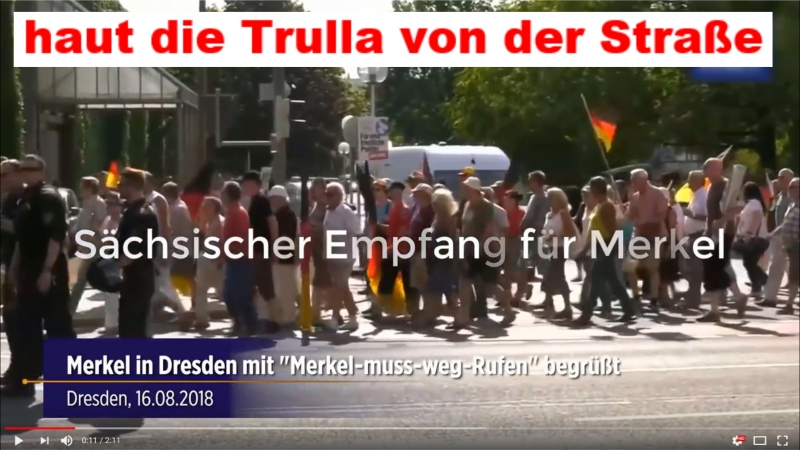 Angemessener Empfang für Merkel in Dresden