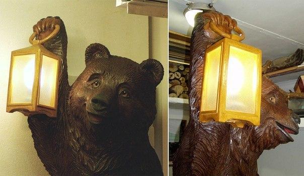 Резной Медведь. Труд Сергея Лебедева