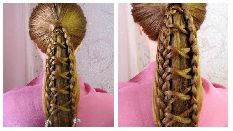 Coiffure avec tresses 🌺 Queue de cheval originale cheveux mi long/long 🌺 facile à faire