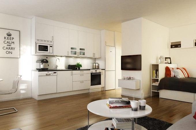 3D дизайн квартиры-студии от Svenskfast - http://kvartirastudio.