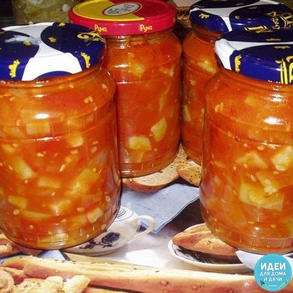 помидорно - кабачковый салат. 2 кг помидорок 2 кг кабачков пол - кило лука (смесь обычного и синего), пару болгарских перчиков острый перчик 2, 5 ст. л. соли 2, 5 ст. л сахарку 150 г