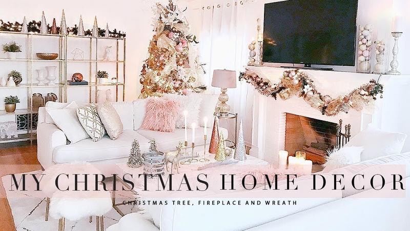 Blush and Gold Christmas Decoration Ideas, DIY Flocking and Metallic Spray Paint