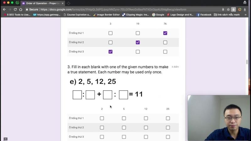 Chữa bài Tập Online Order Operation Pro và Algebra Bài Test Online - Toán Tiếng Anh Lớp 6