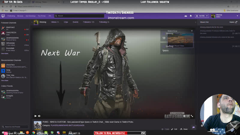 PUBG - WAR CUSTOM - fore password type !pass in Twitch Chat _ Vote next Game in Twitch Picks.
