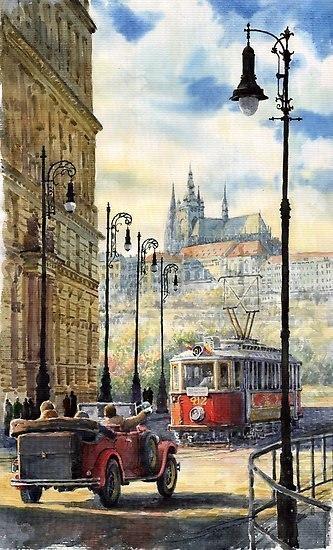 Городской пейзаж от художника Юрия Шевчука #art@iloveart