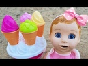 Learn Colors with Ice Cream toys Doll Play with Sand Molds for kids