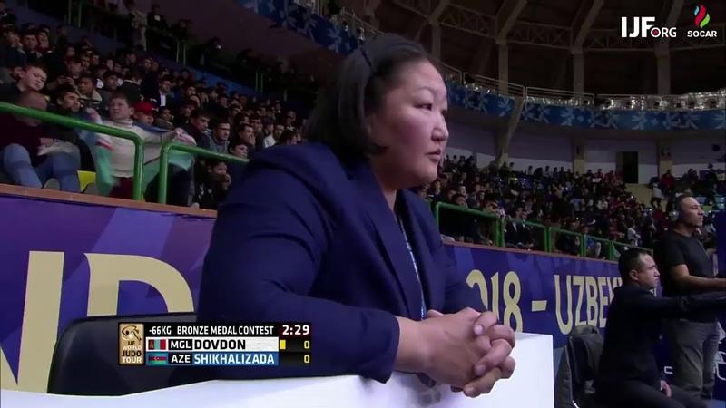 Altansukh Dovdon MGL Nijat Shikhalizada AZE 0:1 -66kg JudoTashkent2018 Bronze