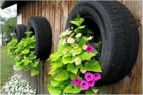 Идеи для сада из шин своими руками фото