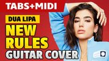 Dua Lipa – New Rules (fingerstyle guitar cover with TABS and MIDI)