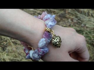 """""""Любовь архангела Иофиила"""" браслет из диких кристаллов розового турмалина."""
