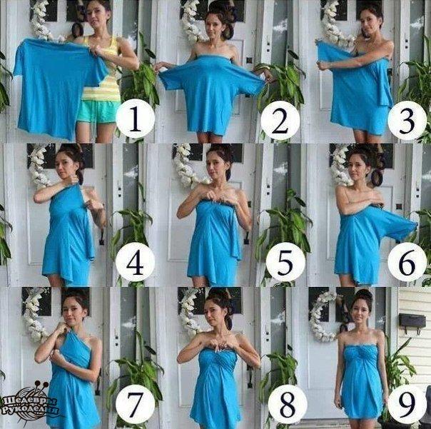 Женское платье из мужской футболки (1 фото) - картинка