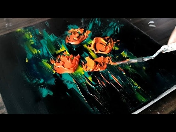 Making of Easy Abstract Painting Floral Acrylic paints Project 365 days Day 0152