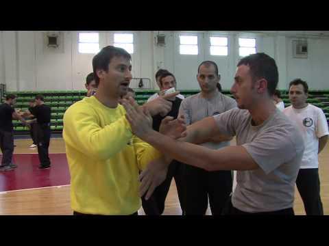 Sifu sergio iadarola teaching chi sao at a wing tsun kung fu seminar in italy