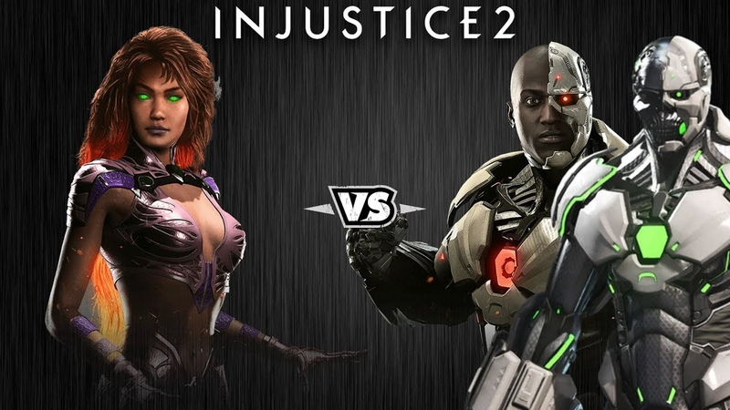 Injustice 2 - Старфаер против Киборга и Грида - Intros Clashes (rus)