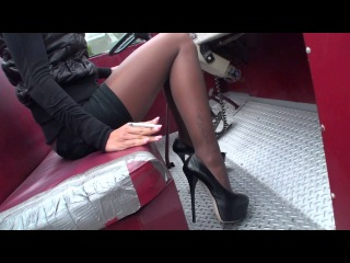 TAMIA ON A US FIRE TRUCK IN HIGH HEELS & PANTYHOSE