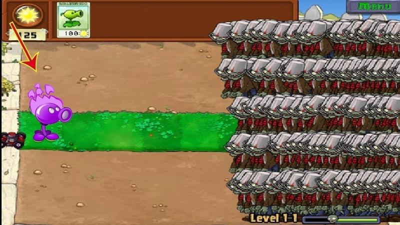 1 Peashooter vs 999 Buckethead Zombie Hack PVZ