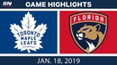 NHL Highlights   Maple Leafs vs. Panthers - Jan. 18, 2019