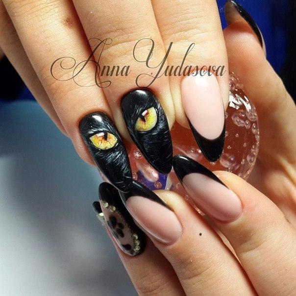 фото рисунок на ногтях кошачий глаз