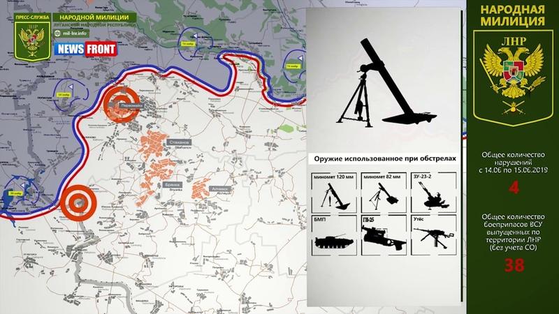 Карта обстрелов ЛНР Обстановка на линии соприкосновения за сутки 15.06.2019