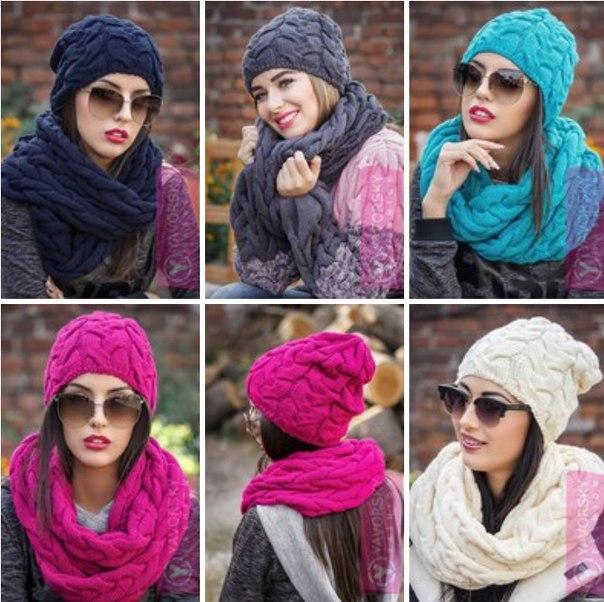 Я. Комплект шапка+ цельный шарф-хомут. Крупная вязка. М 144. - фото 2