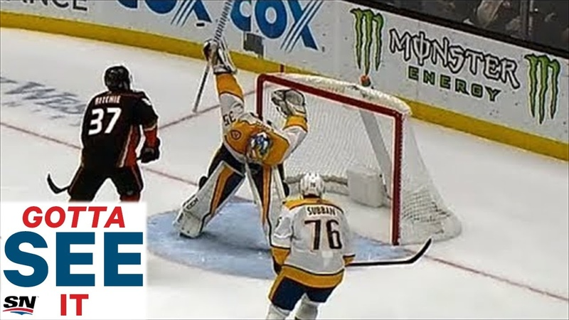 GOTTA SEE IT Rinne Makes Ridiculous One Of A Kind Save, Keeps Predators Tied