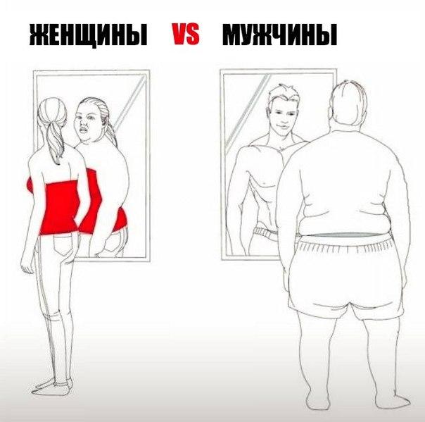 Мужчины и женщины, когда смотрятся в зеркало.