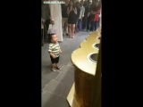 Kid Enjoys Turkish Ice Cream.