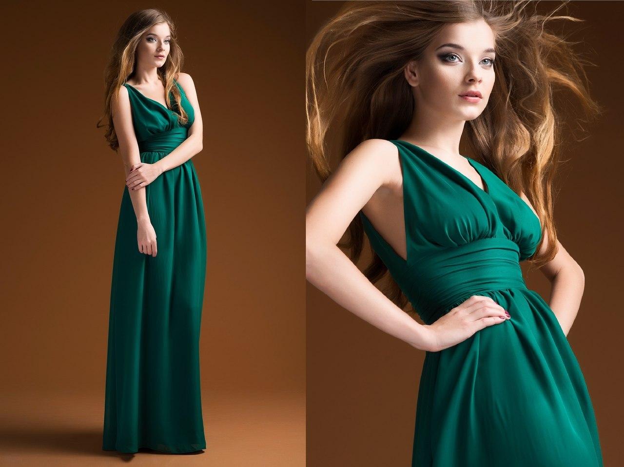 Изумрудные длинные платья