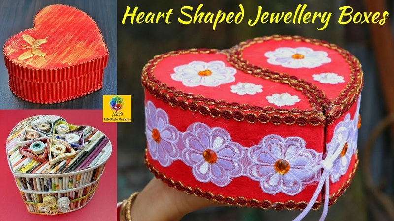Best Heart Shaped Jewellery Box Making Ideas | Top Heart Shaped Organizer with Newspaper Cardboard