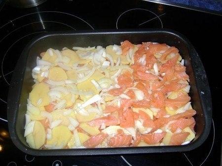 Рецепт семги в духовке с картошкой с фото