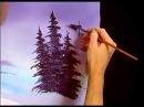 Bob Ross Painting Purplish Pine Tree Joy of Painting