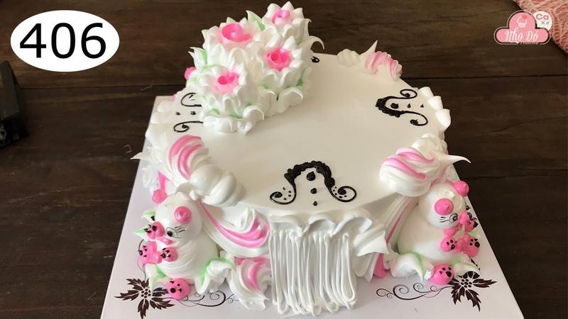 Chocolate cake decorating bettercreme vanilla (406) Học Làm Bánh Kem Đơn Giản Đẹp - Gấu Hồng (406)