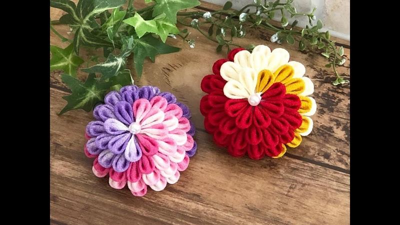 【100均材料 つまみ細工】fabric flower kanzashi flower 七五三 成人式髪飾り ハンドメイド